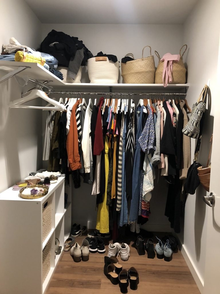 Stephanie's closet before The Virtual Closet Makeover Program