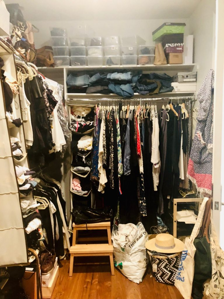 Tanya Monaghan's closet before she completed the Virtual Closet Makeover Program.