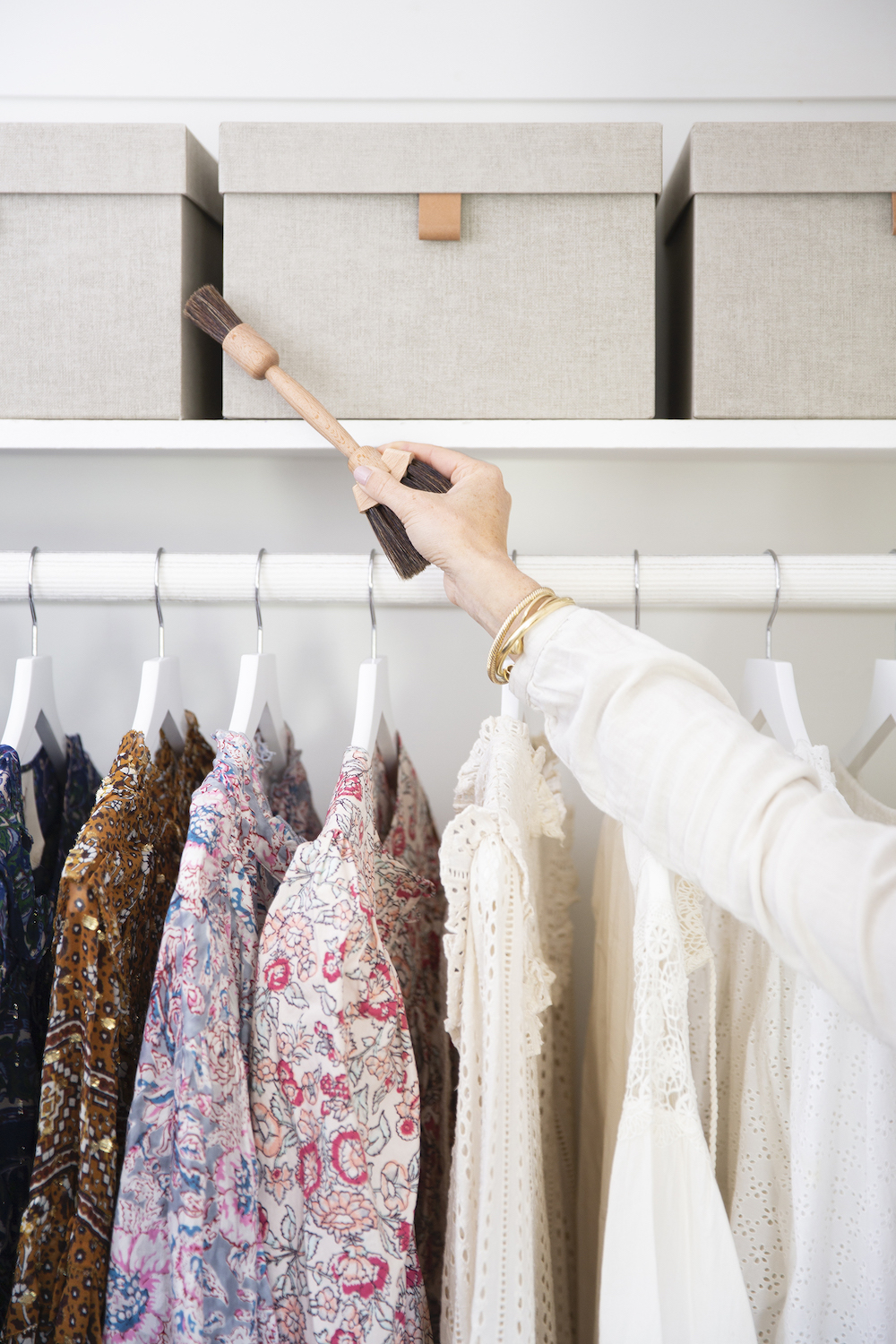 Take a few minutes to give a quick clean and wipe down your closet shelves