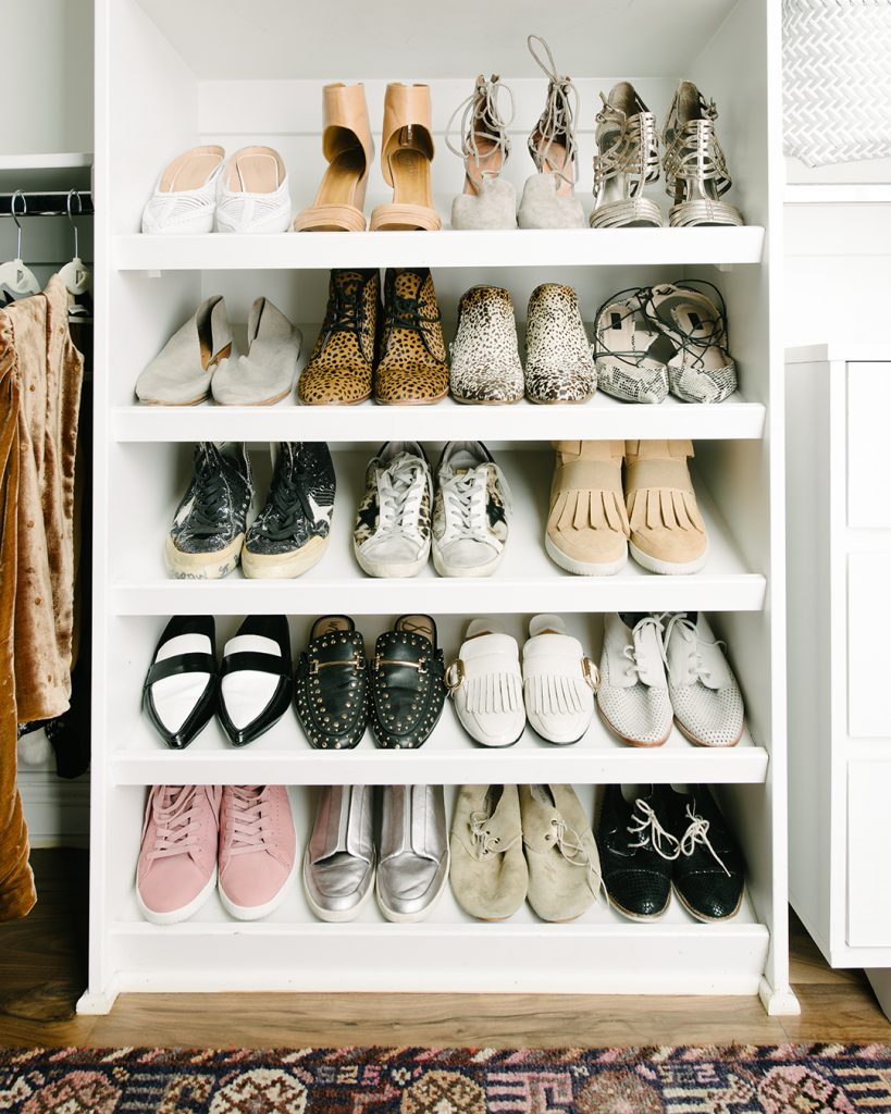 Tanya's shoes organized after taking the Virtual Closet Makeover Program.